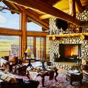Room, Restaurant, Building, Dining room, Interior design, Real estate, House, Table, Home, Fireplace,