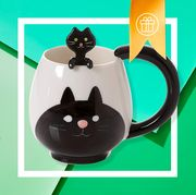 assortment of coffee related gifts on green background
