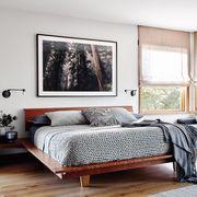 Furniture, Bedroom, Room, Bed, Interior design, Bed frame, Property, Wall, Bedding, Bed sheet,