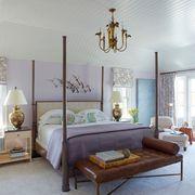 Furniture, Bed, Room, Bedroom, Bed frame, Interior design, Chandelier, Lighting, Ceiling, Light fixture,