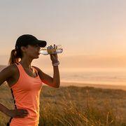 Human body, Sleeveless shirt, Cap, Elbow, People in nature, Summer, Vacation, Sunlight, Bottle, Active tank,