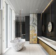 Bathroom, Room, Interior design, Property, Tile, Floor, Architecture, Building, Plumbing fixture, House,