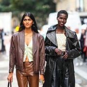 women wearing leather