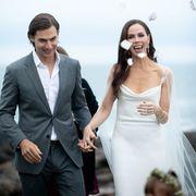 Photograph, Suit, Bride, Dress, Wedding dress, Formal wear, Fashion, Ceremony, Event, Bridal clothing,