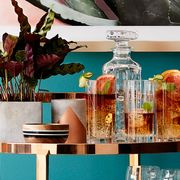 Blue, Turquoise, Table, Room, Shelf, Furniture, Interior design, Material property, Houseplant, Plant,
