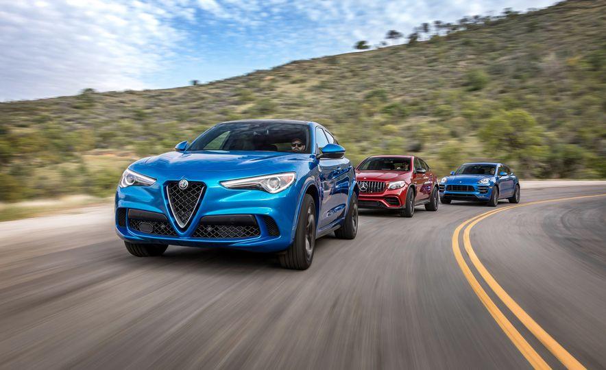 2018 Alfa Romeo Stelvio Quadrifoglio 2018 Mercedes-AMG GLC63 S coupe, and 2017 Porsche Macan Turbo - Slide 1
