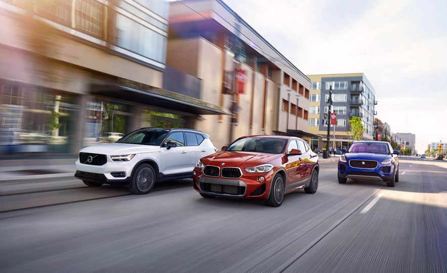 2019 Volvo XC40 T5 AWD, 2018 BMW X2 xDrive28i, and 2018 Jaguar E-Pace P250 AWD - Slide 1