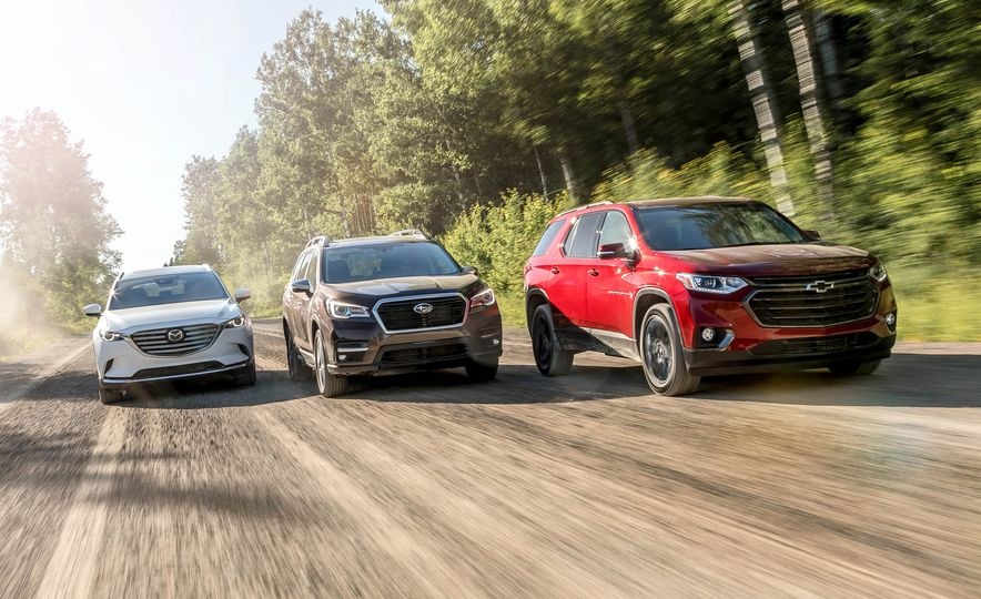 2018 Mazda CX-9 AWD, 2019 Subaru Ascent Touring, and 2018 Chevrolet Traverse RS - Slide 1