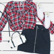 Clothing, Plaid, Pattern, Design, Textile, Outerwear, Tartan, Font, Sleeve, Shorts,