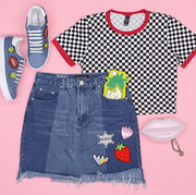 Clothing, White, Product, T-shirt, Blue, Denim, Pink, Footwear, Textile, Jeans,