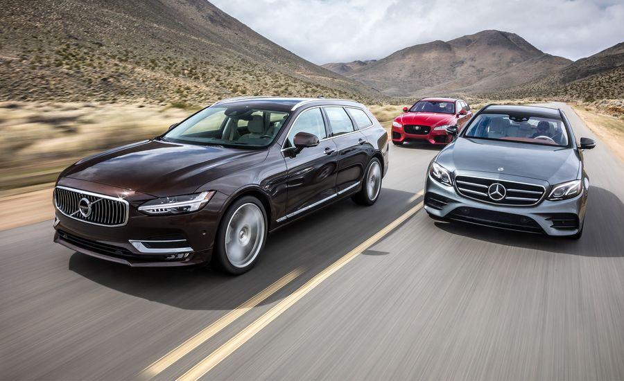 Jaguar XF Sportbrake S AWD vs. Mercedes-Benz E400 4Matic, Volvo V90 T6 AWD