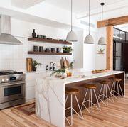Countertop, Furniture, Room, Interior design, Property, Kitchen, Ceiling, Cabinetry, Wood flooring, Floor,
