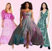 Dress, Gown, Clothing, Formal wear, Fashion model, Shoulder, Pink, Day dress, Fashion, Cocktail dress,