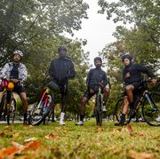 john shackelford and friends at a ride stop on october 10, 2020 in richmond, virginia