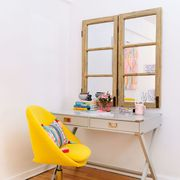 yellow chair, desk
