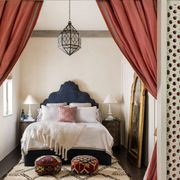 Bedroom, Bed, Furniture, Room, Curtain, Interior design, Canopy bed, Property, Bed frame, Window treatment,