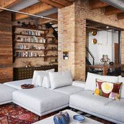 Living room, Room, Interior design, Furniture, Property, Wall, Building, Ceiling, Brick, House,