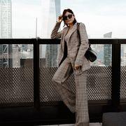 Clothing, Beauty, Fashion, Street fashion, Shoulder, Urban area, Leg, Suit, Coat, Photography,