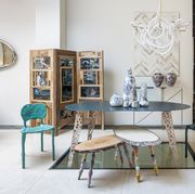 Room, Interior design, Furniture, Table, Floor, Picture frame, Interior design, Teal, Paint, Stool,