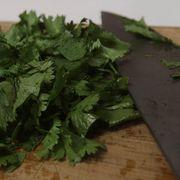 chopping herbs