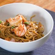 bacon-wrapped shrimp pasta