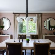 Room, Dining room, Ceiling, Furniture, Interior design, Property, Building, Lighting, Table, House,