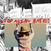 person holding sign that reads stop asian hate collaged on top of an image of a aapi protest from 1972
