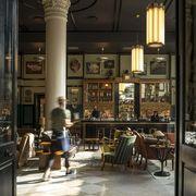 Lighting, Floor, Interior design, Flooring, Ceiling, Light fixture, Column, Shelf, Tile, Chandelier,