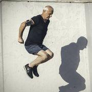 active senior jumping and jogging