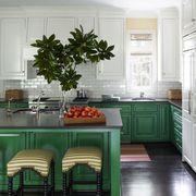 Countertop, Room, Green, Furniture, Kitchen, Interior design, Cabinetry, Floor, Property, Building,