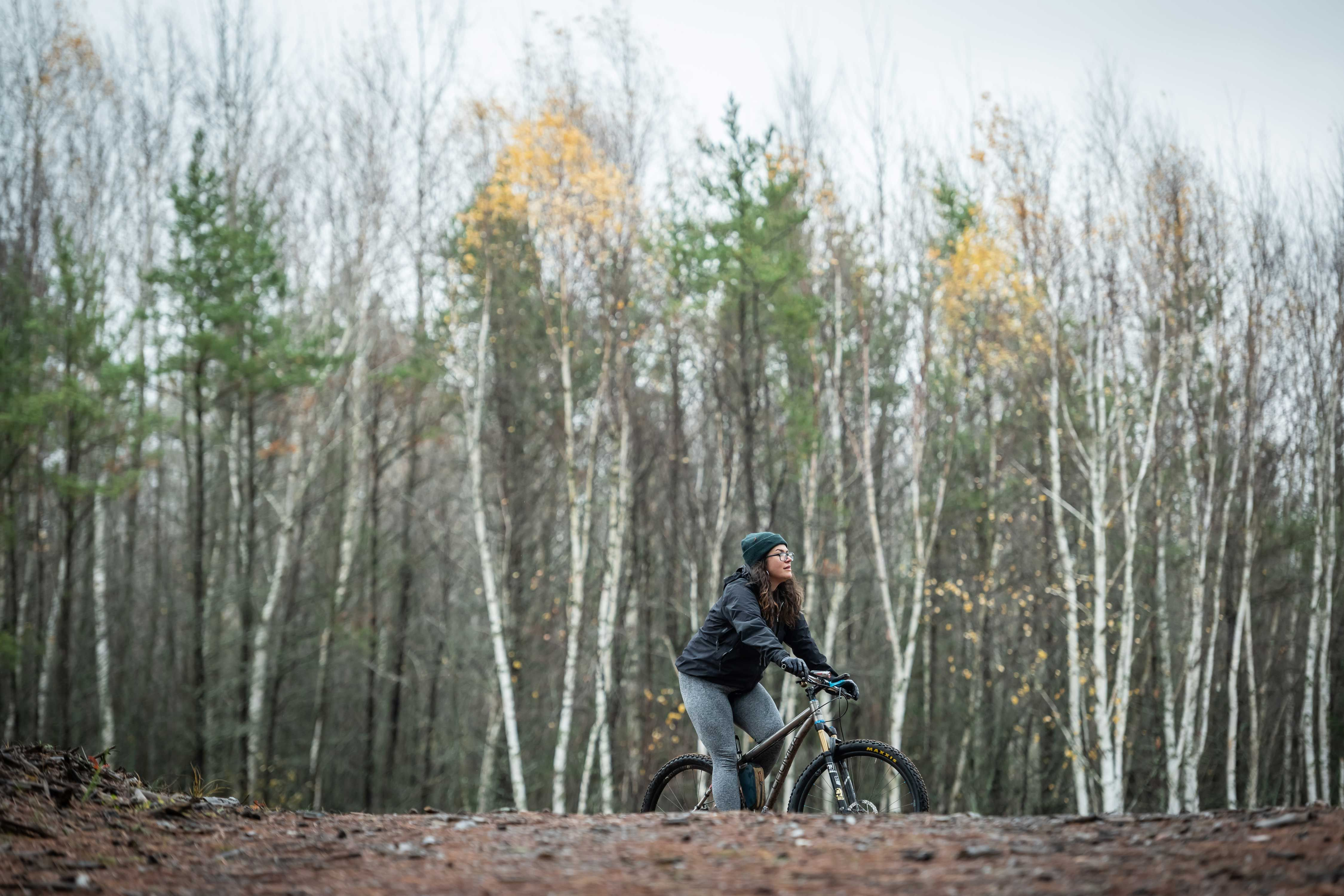 Alexandera Houchin rides her bike at the Cloquet Forestry Center in Cloquet, MN.