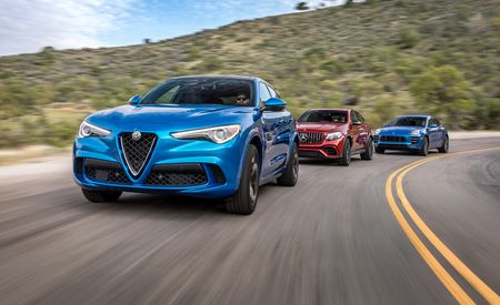 Alfa Romeo Stelvio Quadrifoglio vs. Mercedes-AMG GLC63 S Coupe, Porsche Macan Turbo w/ Performance Package: Alfa Stomps Porsche and AMG!
