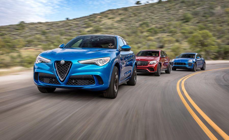 Alfa Romeo Stelvio Quadrifoglio vs. Mercedes-AMG GLC63 S Coupe, Porsche Macan Turbo w/ Performance Package: Alfa Stomps Porsche and AMG!