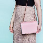 Shoulder, Clothing, Pink, Dress, Pencil skirt, Waist, Bag, Cocktail dress, Fashion, Beige,