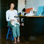 Sitting, Turquoise, Standing, Room, Leg, Furniture, Fawn, Fashion design,