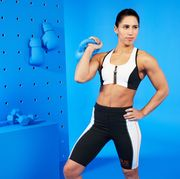 Shoulder, Sportswear, Clothing, Undergarment, Arm, Standing, Abdomen, Joint, Physical fitness, Thigh,