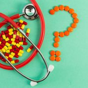 Antibiotics stethoscope and question mark