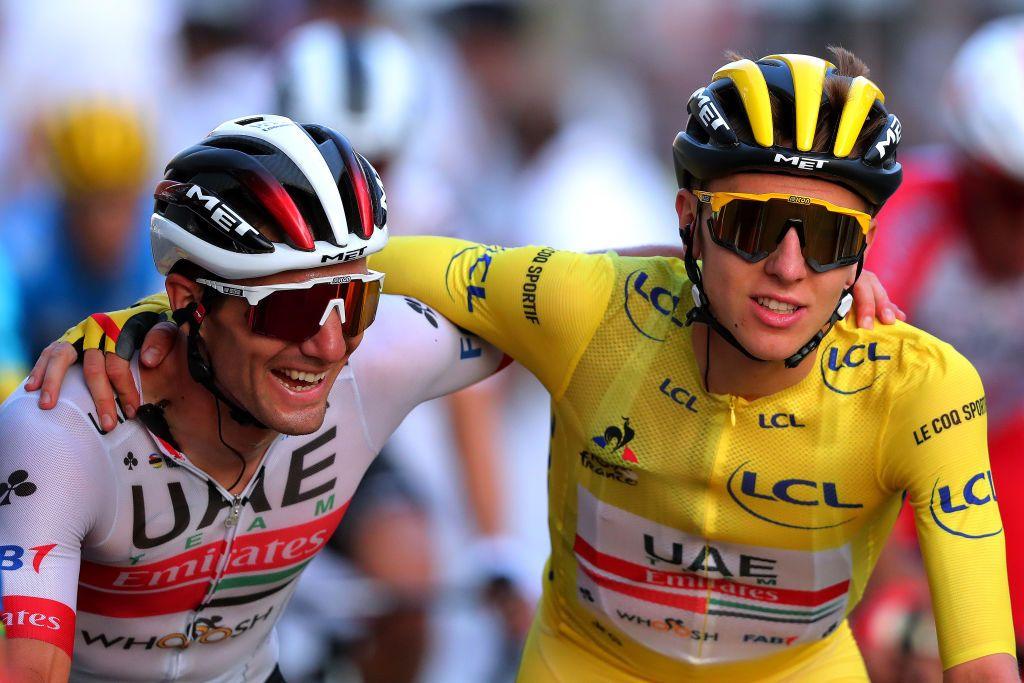 The 2020 Tour de France winner, Tadej Pogacar, wearing the yellow jersey.