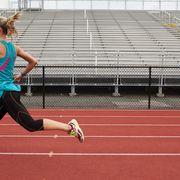 Track and field athletics, Sport venue, Trousers, Sports uniform, Race track, Shoe, Human leg, Athletic shoe, Running, Athlete,