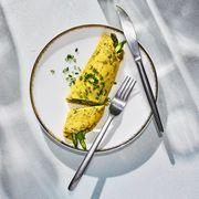 asparagus and pistachio pesto omelet