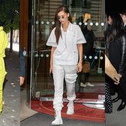 Clothing, Fashion, Yellow, Jeans, Street fashion, Footwear, Outerwear, Denim, Trousers, Fashion model,