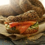 bagels toped with seeds and salmon schmear food