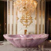 Room, Interior design, Lighting, Light fixture, Ceiling, Purple, Chandelier, Floor, Curtain, Font,