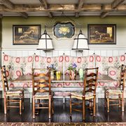 built in banquette with country chic style