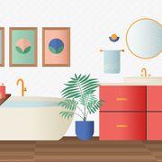 Turquoise, Room, Wall, Orange, Furniture, Wall sticker, Interior design, Illustration, Clip art, Floor,