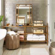 Room, Property, Bathroom, Interior design, Furniture, Tile, Floor, Building, House, Architecture,
