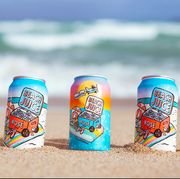 beach juice canned rose on beach