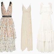 Clothing, Dress, White, Gown, Day dress, Fashion, Wedding dress, Bridal party dress, Formal wear, Lace,