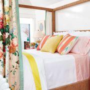 Bed, Bedroom, Furniture, Room, Property, Green, Interior design, Yellow, Bed sheet, Bedding,