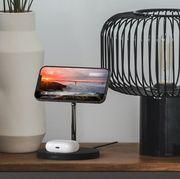 belkin iphone charging doc on nightstand